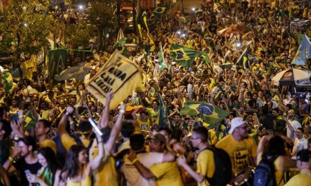 Opponents of President Dilma Rousseff celebrate after the impeachment vote in Porto Alegre